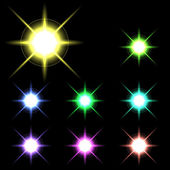 Vector glowing lights, stars and sparkles 4 — Stock Vector