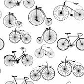 Seamless background pattern. Bicycle trip. Vector — Stock Vector