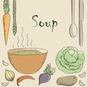 Wegetariańska zupa i warzywa. — Wektor stockowy