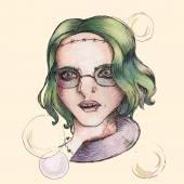 Alien girl. — Stock Vector