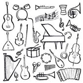 Set of music instruments — Stock Vector