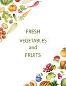Set of watercolor vegetables and fruits. — Stock vektor