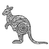 Stylized kangaroo zentangle — Stock Vector