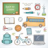 Artículos escolares diferentes — Vector de stock