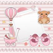 Baby girl shower card — Stock Vector