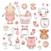 Bebek kız duş — Stok Vektör
