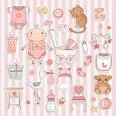 Baby girl shower — Stock Vector