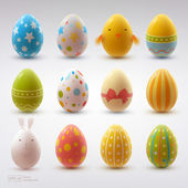 Set of realistic eggs on white background — Stok Vektör