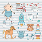 Baby boy cute paper labels. — ストックベクタ