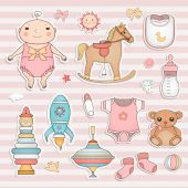 Baby girl cute paper labels. — ストックベクタ