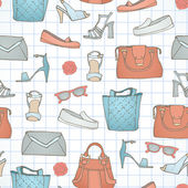 Seamless pattern with handbags and shoe — Vetorial Stock