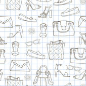 Seamless pattern with handbags and shoe — ストックベクタ