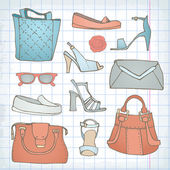 Set of handbags and shoe — ストックベクタ