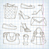 Set of  handbags and shoe — Vetorial Stock
