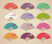 Folding fans. — Stock Vector