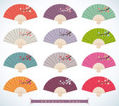 Decorative folding fans — Stock Vector