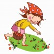 Cute Girl picking strawberry — Stock Vector #67820581
