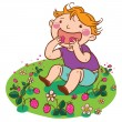 Boy eating strawberries — Stock Vector #67820751