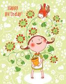 Cute  Birthday Card — Stock Vector