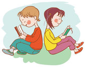 儿童阅读的书籍 — 图库矢量图片