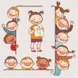 Kids peeping behind placard — Stock Vector #68481115