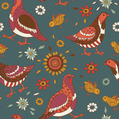 Quail Birds Pattern — Stock Vector