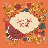 Turkey Thanksgiving card — Stock Vector