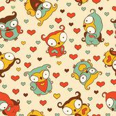 Cute Owls Pattern — Stock Vector