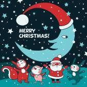 Card with little Santa — Vector de stock