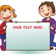 Kids behind placard — Stock Vector #69105737