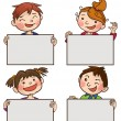 Kids peeping behind placards — Stock Vector #69105773