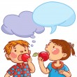 Boy and Girl eating apples — Stock Vector #69105885