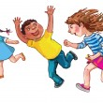 Children running together — Stock Vector #69106353