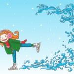 Girl skating on ice — Stock Vector #69107269