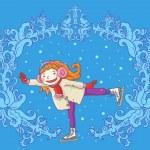 Girl skating on ice — Stock Vector #69107271