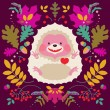 Hedgehog on Floral background — Stock Vector #69107855