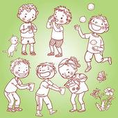 Children drinking lemonade — Stock Vector
