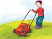 Boy mowing the lawn — Stock Vector