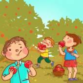 Children harvesting apples. — Stock Vector