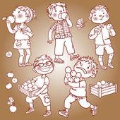 Children harvesting apples — Stock Vector