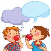 Boy and Girl eating apples — Stock Vector