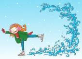 Girl skating on ice — Stock Vector