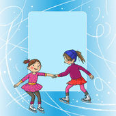 Two Girl skating — Stockvector