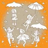 Kids playing under rain — Stock Vector