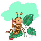 Bee sitting on Leaf — Stock Vector