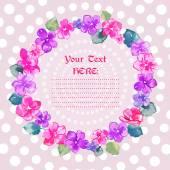 Kranz mit rosa Veilchen — Stockvektor