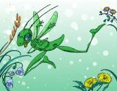 Cartoon Grasshopper and Flowers — Vector de stock