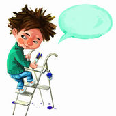 Boy climbing ladder — Stock Vector