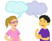 Girl and Asian Boy talking — Stock Vector