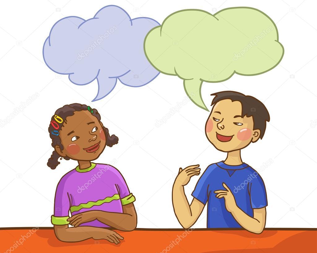 Image gallery ninos hablando - Ninos en clase dibujo ...